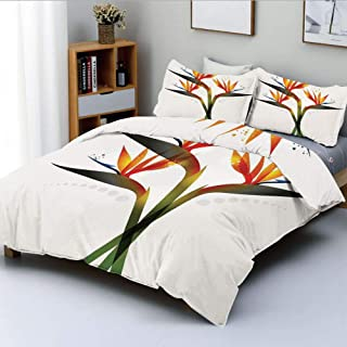 Duplex Print Duvet Cover Set Queen Size,Ombre Colored Botanic Tropical Garden Plant with Abstract Dots ArtworkDecorative 3 Piece Bedding Set with 2 Pillow Sham,Green and Orange,Best Gift For Kids & Ad