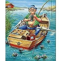 QMGLBG 5Dダイヤモンド塗装 ボート釣り漫画ダイヤモンド塗装大人のラインストーン工芸家の装飾アート30*40cm