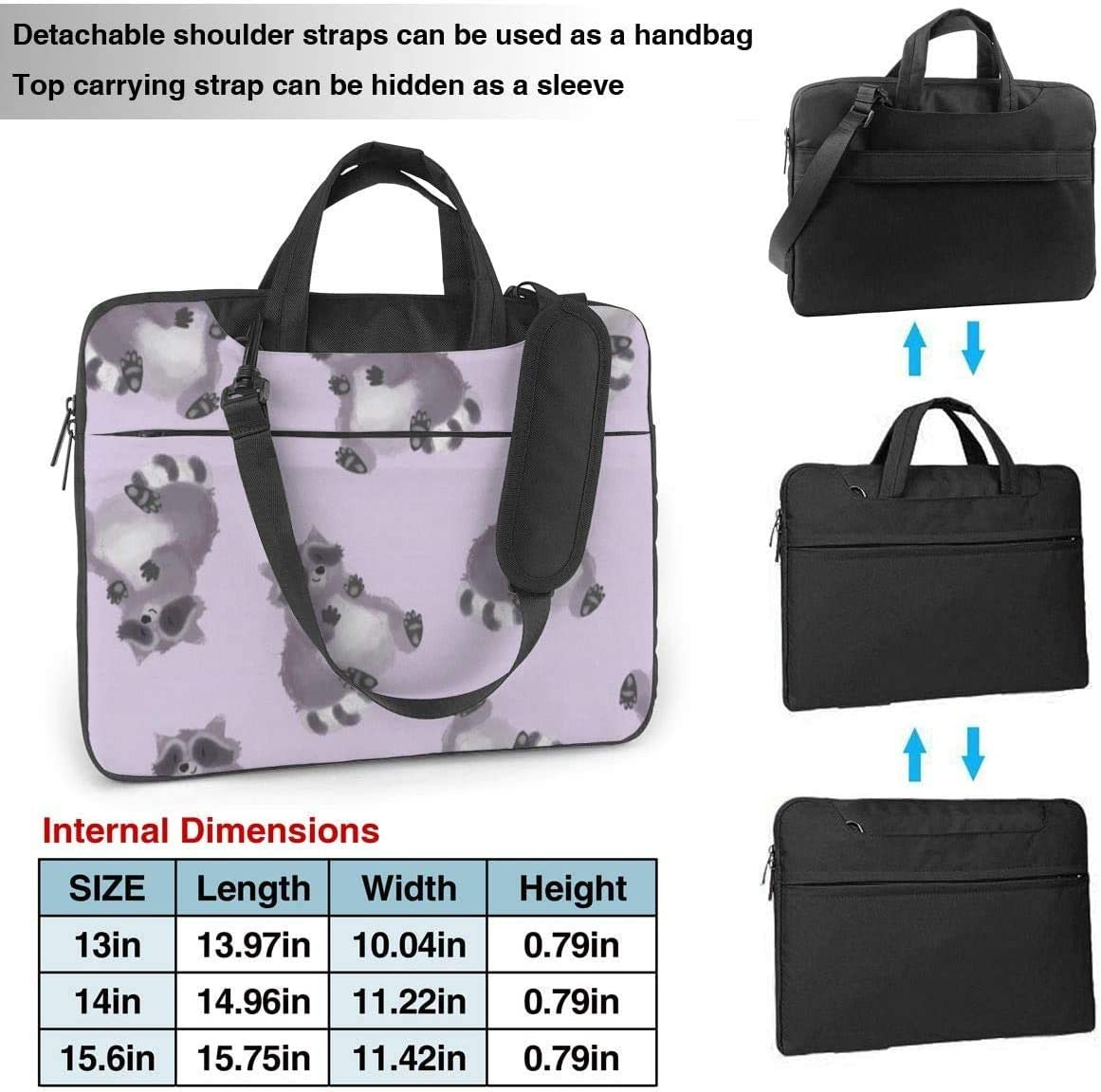 15.6 Inch 14 Raccoon Pattern Shockproof Laptop Case Cover Briefcase Size 13 Laptop Shoulder Bags