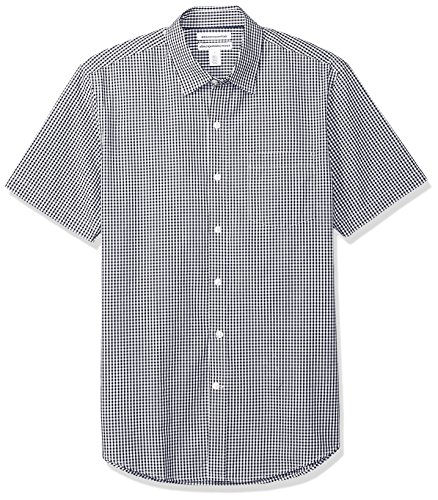 Amazon Essentials Men's Slim-Fit Short-Sleeve Casual Poplin Shirt, Black Gingham, XX-Large