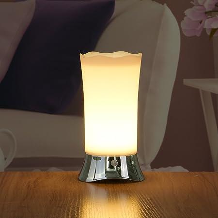 ZEEFO Lampes de Table Sans Fil à Détecteur de Mouvement PIR Led Lampe de Nuit pour Chambre d'Enfants, Salle de bains, Couloir, Cuisine, Étape(Argent)