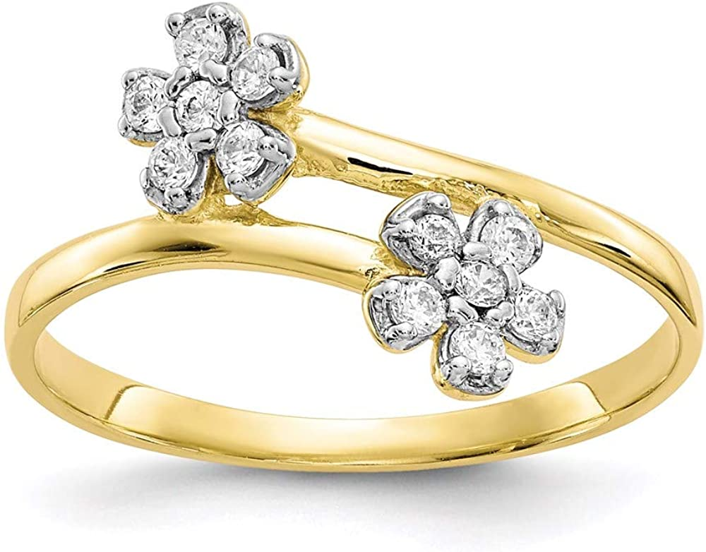 10k Yellow Gold Double Flower Cubic Zirconia Cz Band Ring Size 6.00 Leaf Fine Jewelry For Women Gifts For Her