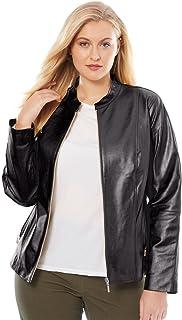592d9d9eb38 Jessica London Women s Plus Size Zip Front Leather Jacket