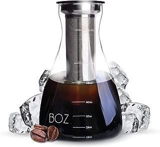 BOZ Cold Brew Iced Coffee Maker, 2 Quart Glass Pitcher | Ultra Fine Coffee Filter, Serving Carafe | 2L, 67 fl oz