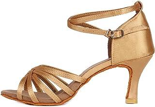YKXLM Mujeres&Niña Zapatos Latinos de Baile Zapatillas de Baile de salón Salsa Tango Performance Calzado de Danza,Modelo E...