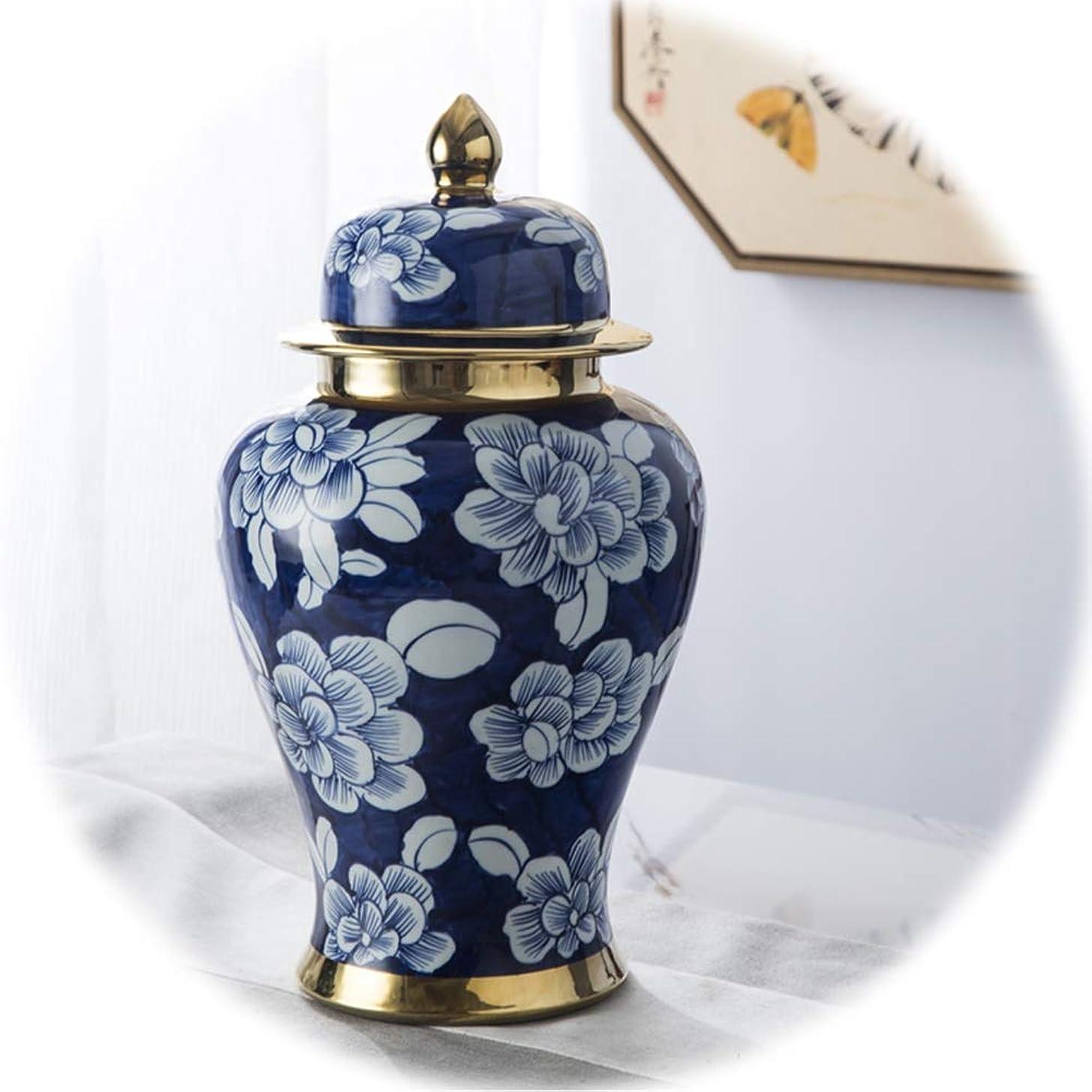 共産主義者しかし強度陶磁器の花瓶 XJJUN 陶磁器の花瓶 青と白の磁器 家の装飾 缶蓋 密封された 理想的な贈り物 リビングルーム 寝室 オフィス 贈り物 (Color : A, Size : 60x27cm)