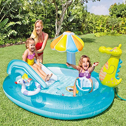 FLYTYSD Aufblasbares Planschbecken, Krokodil Baby Pool Mit Sonnenschutz, Splash Kinderzelt Schwimmbecken, Kinder&Toddlers Sommer Wasserspielzeug Sommergeschenk Für Garten Strand
