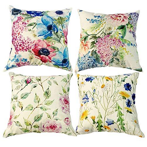 Freeas 4 Packs Throw Pillow Cases - Cotton Linen Sofa & Bed Home Decor Design 45 X 45 CM Cushion Covers, Four Flowers