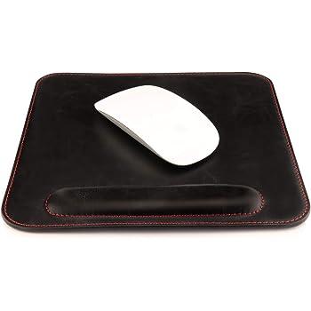 Londo - Alfombrilla de Mouse de Piel con reposamuñecas, Color Negro