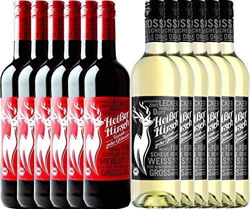 12er Mixpaket - Bio-Glühwein rot & weiß - Heißer Hirsch | veganer Glühwein | Glühwein aus Deutschland in Bio-Qualität | 12 x 0,75 Liter