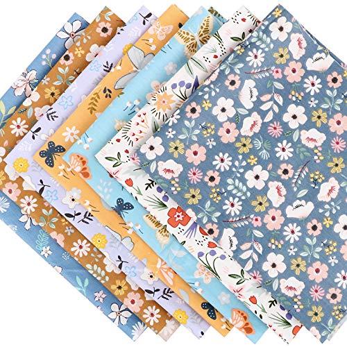 7pcs Retales de Tela Algodón 40×50CM Tela Estampada Floral Diseño de Retales Tejido Flores Mariposa para Manualidades Patchwork Costura DIY