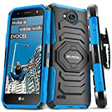 Evocel New Generation Series Phone Case Compatible with LG X Charge, LG Fiesta, LG X Power 2, LG V7 with Belt Clip Holster and Kickstand, Blue