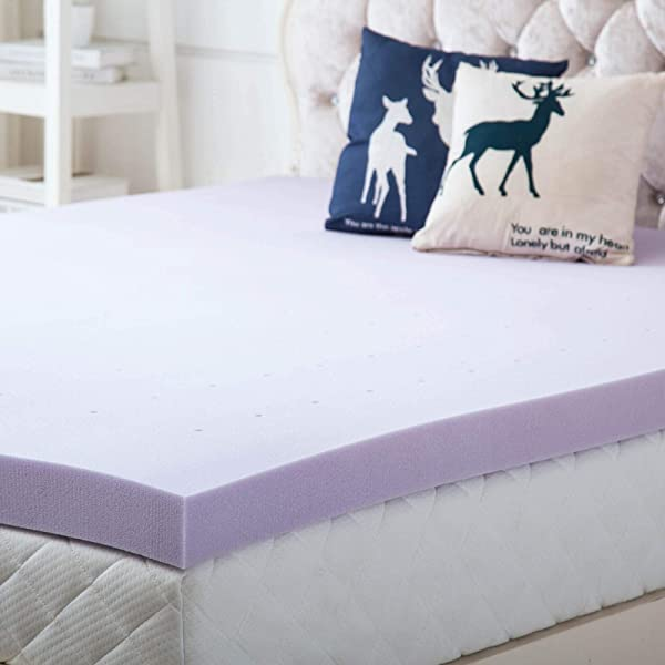 Hou Hai 3 Inch Lavender Memory Foam Mattress Topper Bed Topper Ventilated Design Comfortable Mattress Support For Side Back Stomach Sleepers Full Size