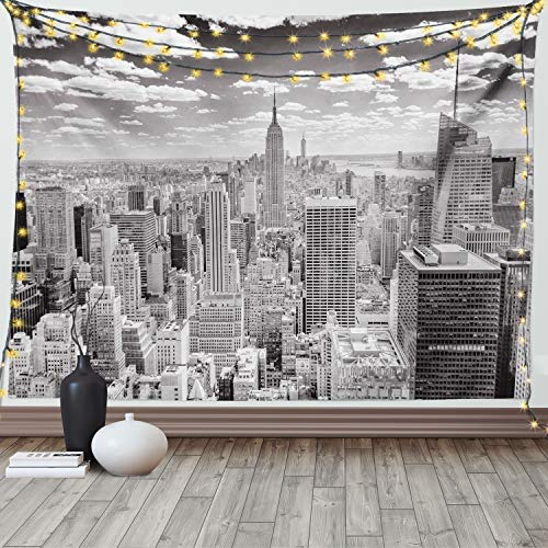 Ambesonne New York Tapestry, NYC Over Manhattan from Top of Skyscrapers Urban Global Culture City Panorama, Wide Wall Hanging for Bedroom Living Room Dorm, 60' X 40', Grey Monochrome