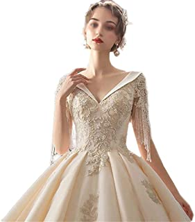 Elegant enkelhet kvinnor vit A-linje bröllopsklänningar damer en brud V-ringad spets applikation lång svans kjol palats br...