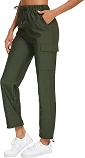 Women's Cargo Joggers Hiking Pants Water-Resistant UPF 50 Athletic Workout Outdoor Mountain Trouser with Pockets