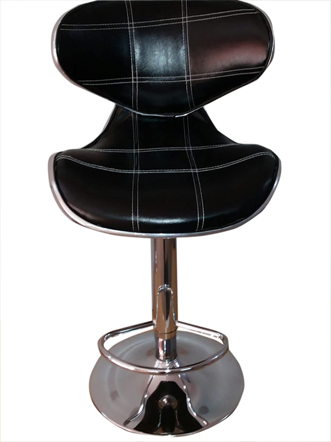 TMS 2 pcs Swivel Elegant Synthetic Leather Modern Adjustable Bar Stool Chair Barstool (Black)