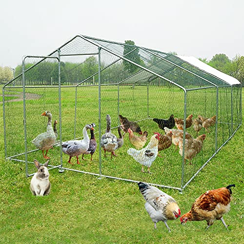 Wonline Large Metal Chicken Coop Walk-in Poultry Cage Hen Run House Rabbits Habitat Cage Spire Shaped Coop for Outdoor Backyard Farm 19.7 x 9.8 x 6.56 ft