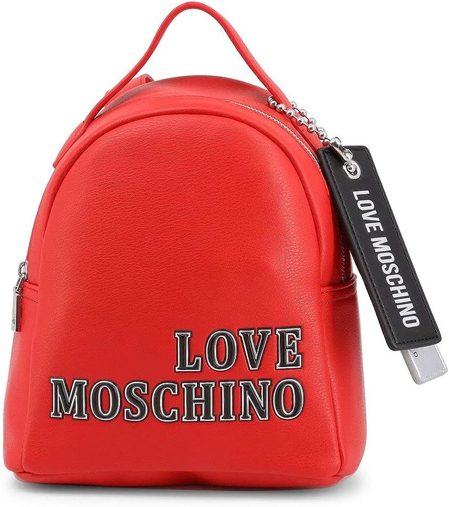 Love moschino borsa zaino da donna in pelle sintetica color rossa
