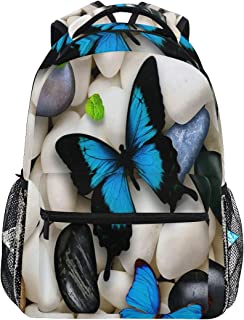 Women/Man Canvas Backpack Special Butterflies Blue White Stones Zipper College School Bookbag Daypack Travel Rucksack Gym Bag For Youth
