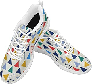 Zenzzle Womens Walking Shoes Colorful Triangles Pattern Print on Casual Lightweight Athletic Running Sneakers Size US6-12