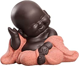 Flameer Little Ceramic Baby Monk Maitreya Happy Buddha Statue Figurine Feng Shui Ornament Arts and Crafts - B