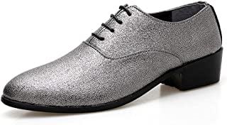 Oxford Shoes For Men Formal Shoes Lace Up Style PU Leather Stylish Retro Pointed Toe Lightweight` Ameyso (Color : Silver, Size : 42 EU)