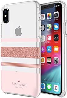 Kate Spade New York Flexible Hardshell Case for iPhone Xs/iPhone X – Charlotte Stripe Rose Gold Foil