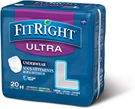 Medline Fitright Ultra Protective Underwear, Large, 4 packs of 20 (80 total)