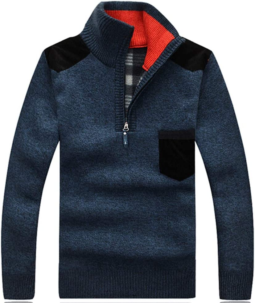 Hzikk Winter Sweaters Men's Pullovers Warm Thick Knitwear Mens Sweater Casual Cashmere,RoyalBlue,L
