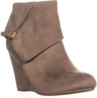 Rebel Senia Zip Up Wedge Ankle Boots, Taupe