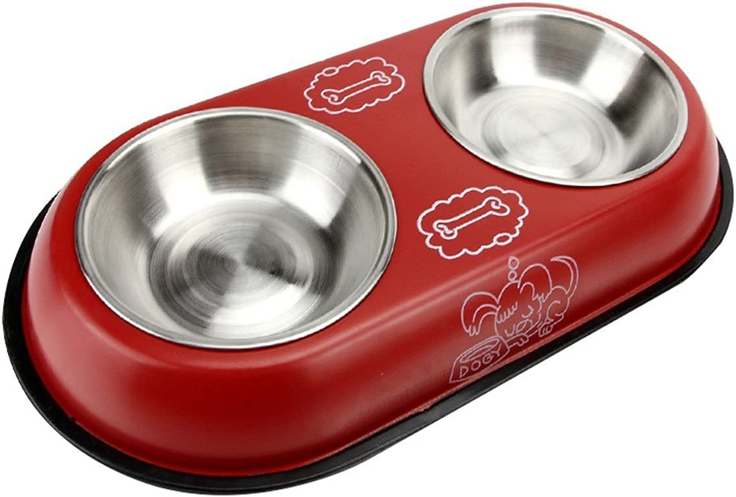 Dog Food Bowl Double Bowl Small and Medium Pet Food Bowl Puppies Cat Dog Feeder NonSlip AntiFall Bowl (color   RED, Size   38  21  5cm)