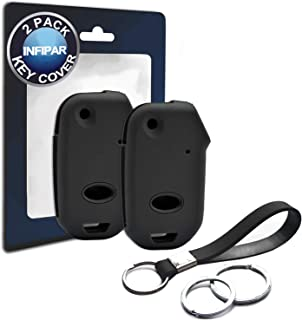 INFIPAR 2pcs Compatible with Flip 2019 2020 Kia Forte Black Silicone FOB Key Case Cover Protector Keyless Remote Holder for 2019 2020 Kia Forte LXS Sedan 4 Door Flip 4 Buttons