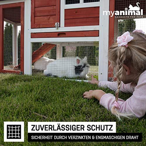 Miweba Hasenstall Kaninchenstall My Animal MH-31 XXL mit Doppelgarten - Hasenkäfig - Kiefernholz - Multifunktional - Winterfest - 2 Ebenen (Rot)