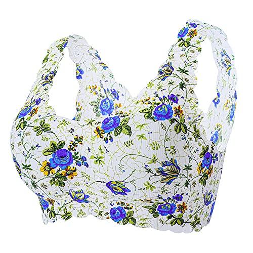 ergou New Elegant Icesilk Floral Bra, Women's Seamless Wireless Bra Thin Soft Daily Bras Painted Yoga Bra Sleep Leisure Bra (Blue Rose,L)