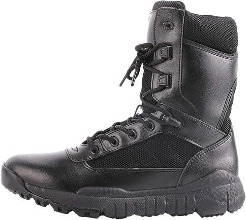 NDHSH Bottes Tactiques Tactiques pour Hommes Bottes de randonnée Estivale Bottes Montantes Chaussures à Lacets Forces spéciales Bottes de Travail Bottes de sécurité Bottes de sécurité,noir02-42  meilleurs prix