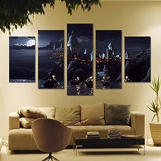 KPWAN Impressions/sur/Toile 5 Pi/èce HD Toile Art Harry Potter Affiche /École Ch/âteau De Poudlard Modulaire Peintures Affiches De Cin/éma sans Cadre A