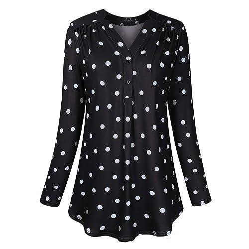 8121127d AMZ PLUS Women's Plus Size Loose Blouse Stretch Long Sleeve Tops Polka Dot  V Neck Casual