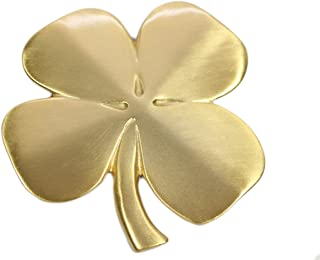 Robert Emmet Co. Lucky 4 Leaf Clover Ireland Wall Hanging Gold Lucky Shamrock Plated Pewter Irish Blessing Wall Decor