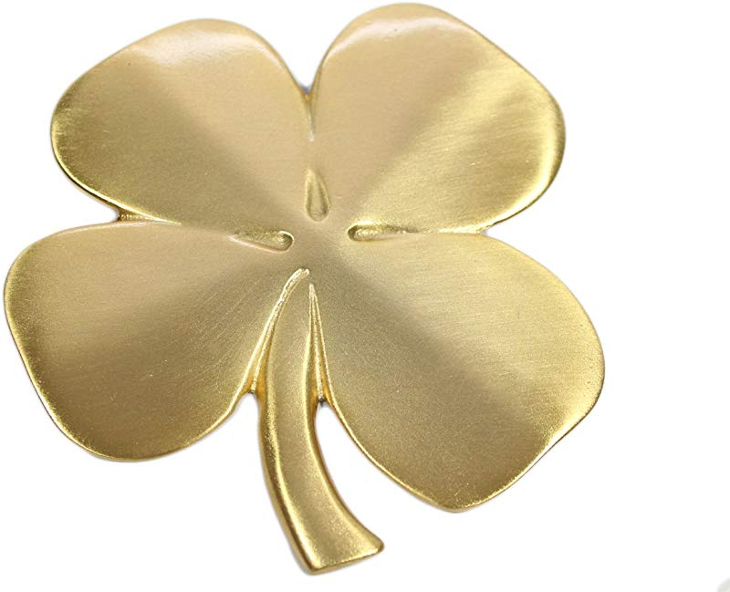 Robert Emmet Co Lucky 4 Leaf Clover Ireland Wall Hanging Gold Lucky Shamrock Plated Pewter Irish Blessing Wall Decor