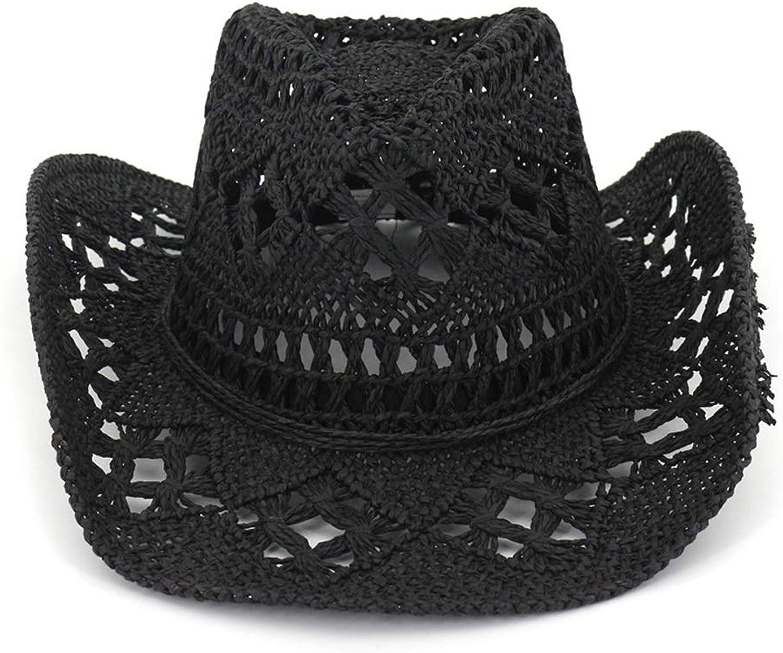 YUMUYMEY Straw Cowboy Cowgirl Hat Western Outback Sunhat mit breiter Krempe (Farbe   Schwarz, Größe   Adjustable)