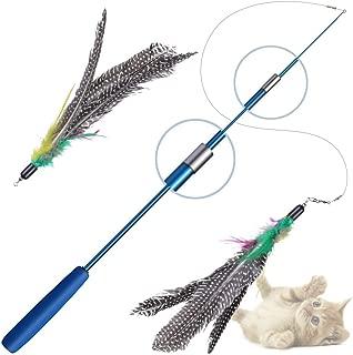猫 おもちゃ, PETBABA(ペットババ) 猫じゃらし 羽のおもちゃ 88cmまで伸縮できる釣り竿 人気 じゃれ猫 天然鳥の交換用羽根 2個入り