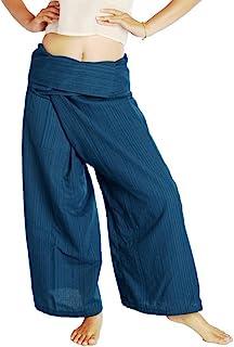 Siam Secrets 100% Cotton Thai Fisherman Pants Wrap Yoga Trousers One-size Blue