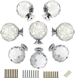Cabinet Drawer Handles Knobs Crystal Glass Cupboard Pulls Dresser With Plate 32