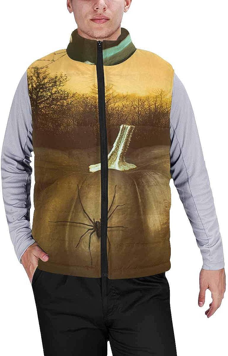 InterestPrint Men's Outdoor Casual Stand Collar Sleeveless Jacket Pumpkin with Skeleton Hand