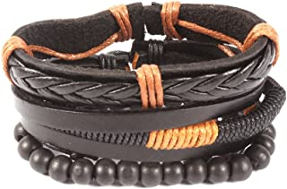 Unknown By Ayesha Men's Set Of Three Black And Tanned Brown Faux Leather Bracelets