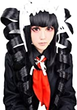 Anogol Hair Cap + Anime Black Cosplay Wig Costume For Party