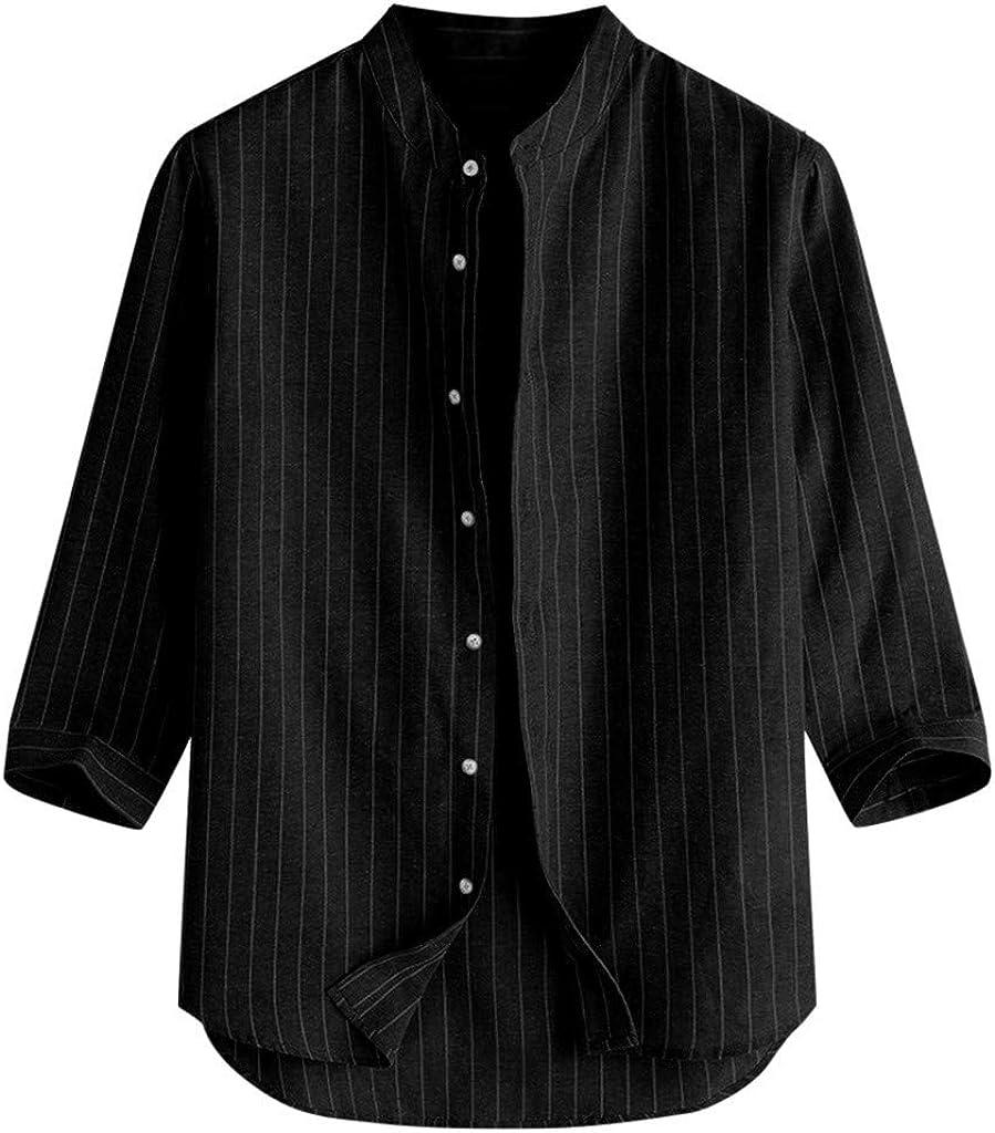 FUNEY Men's Cotton Linen Henley Shirt 3/4 Sleeve Hippie Beach Loose Yoga T Shirts Casual Button Up Striped Shirts Tops