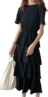 [エージョン] レディース ワンピース 無地 ティアードスカート カジュアル Aライン 気質 ロングスカート 学生 ファッション