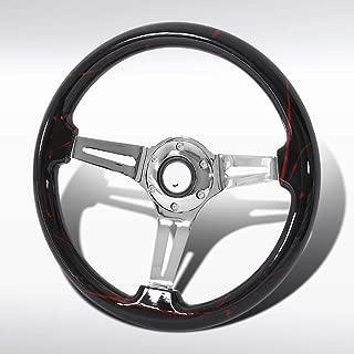 Autozensation Universal 350mm Black&Red Art Chrome 3-Spoke Sport Wooden Steering Wheel